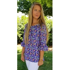 Erma's Closet Purple Floral Tunic with Double Ruffle Sleeve
